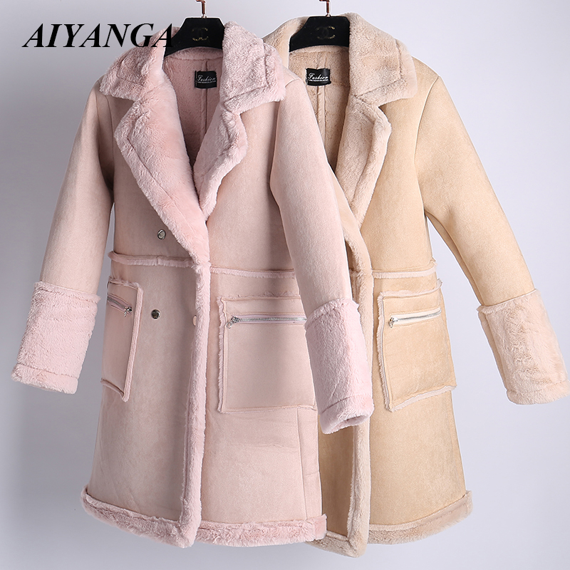 Faux   Leather     Suede   Coats Women 2018 Double-breasted Thick   Suede   Jackets Female Autumn Winter Warm Faux Rabbit Fur Long Coats