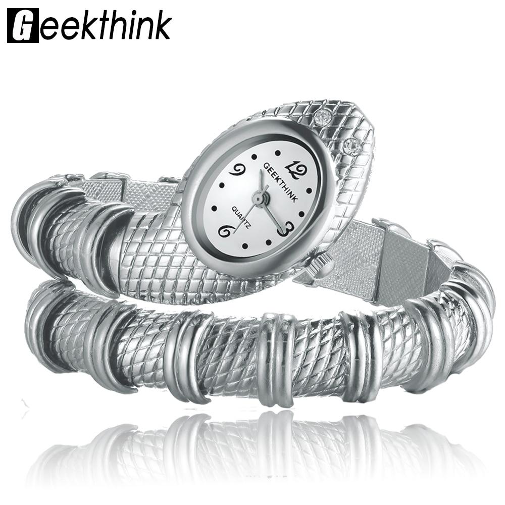 GEEKTHINK Unique Fashion Quartz Watch Women Ladies Snake Shaped Bracelet Watch Bangle Diamond Ornaments Luxury Silver Gold