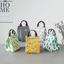 Korean cute animal fabric meal lunch insulation package waterproof Oxford cloth lunch bag with zipper lunch box package(China)