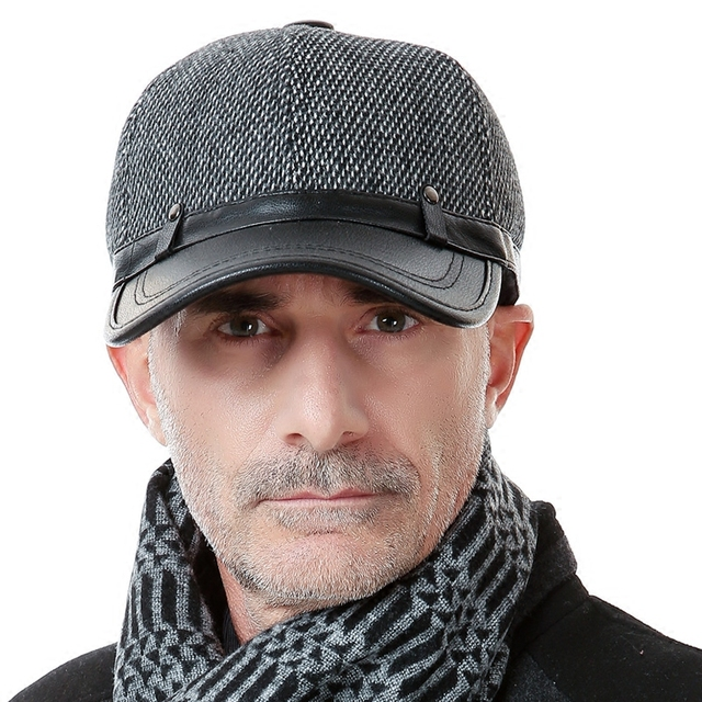 new style wool hat male ear skin peaked Baseball Cap spring and autumn and winter elderly male hat  B-0661