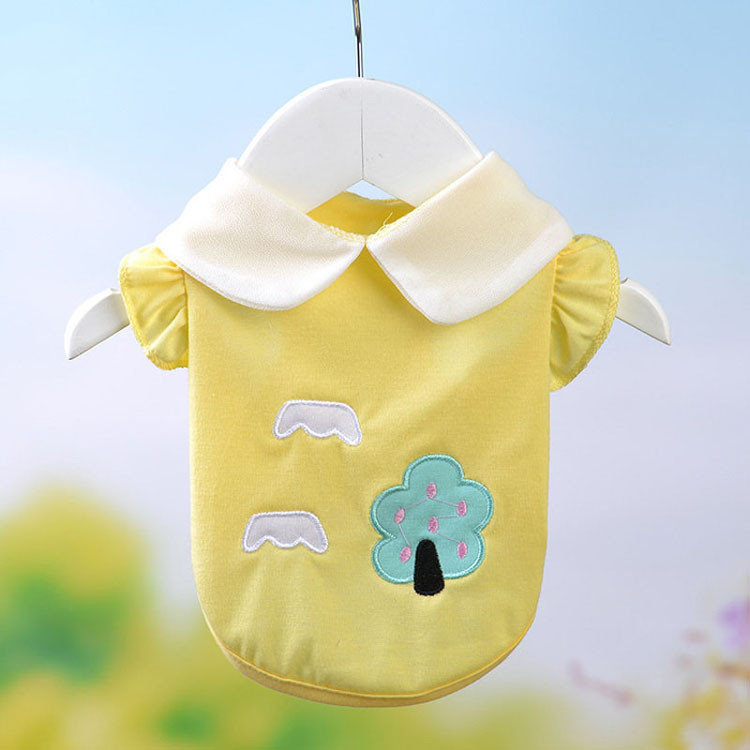 Fresh Cute Dog Coat Shirt For Small Dogs Puppy Pet Cotton T-shirt Vest Teddy Chihuahua Clothes in Spring and Summer Blue Yellow Pink Purple4