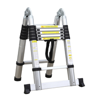 2Pcs 2.5M+2.5M Portable Aluminum AlloyTelescopic Ladder With Joint Multipurpose Retractable Straight Ladder Adjustable Ladder