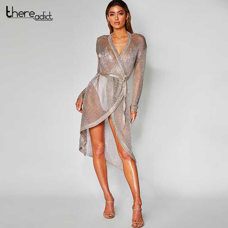 fbc2adfb90b Detail Feedback Questions about Itsroya Metallic Knit Rose Gold Long Sleeve  Dress Women Sexy Beach Cover up Swimsuit Covers Up Summer Swimwear Beach  Dress ...