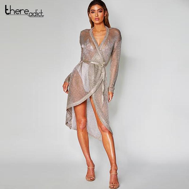 ecb8f7d19ed5b Itsroya Metallic Knit Rose Gold Long Sleeve Dress Women Sexy Beach Cover-up  Swimsuit Covers Up Summer Swimwear Beach Dress