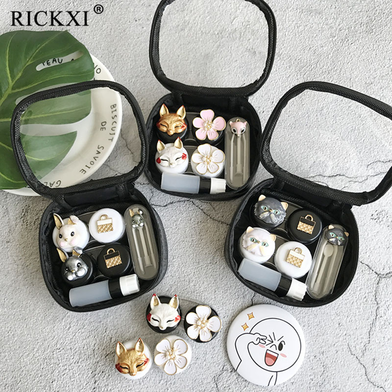 2Pairs Fashionable Cute Contact Lenses Case For Women With Clear Bag Mirror Fox/Rabbit/Cat Lenses Container Holder Travel Kit