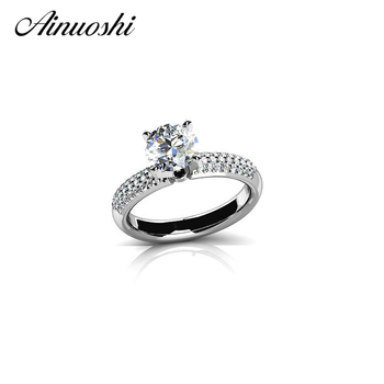 AINOUSHI Luxury 925 Sterling Silver Women Wedding Rings 1 Carat Sona Round Cut 4 Prongs Engagement Anniversary Lover Rings Gifts