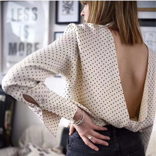 Sexy Women Long Sleeve Open Back Shirts Vintage White O-Neck Backless Polka Dot Blouses