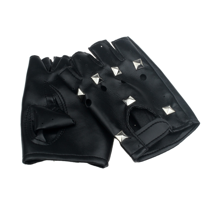 Theatrical Punk Hip-hop PU Black Half-finger Leather Gloves Round Nail Luva motociclista tactical gloves Gloves without fingers