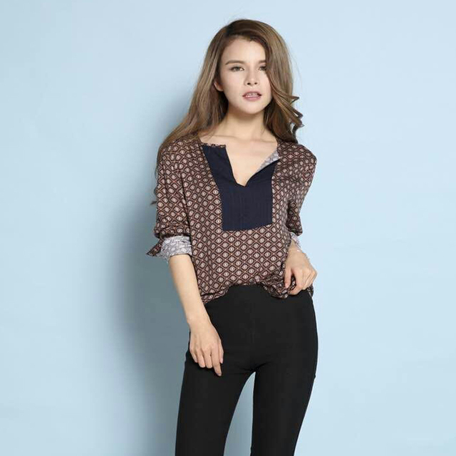 Women Autumn Spring Long Floral Print Shirts Size Xxs Xl All Match