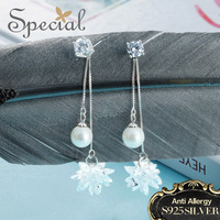Special Brand Fashion 925 Sterling Silver Stud Earrings Shell Beaded Ear Pins Crystal Earrings Jewelry Gifts