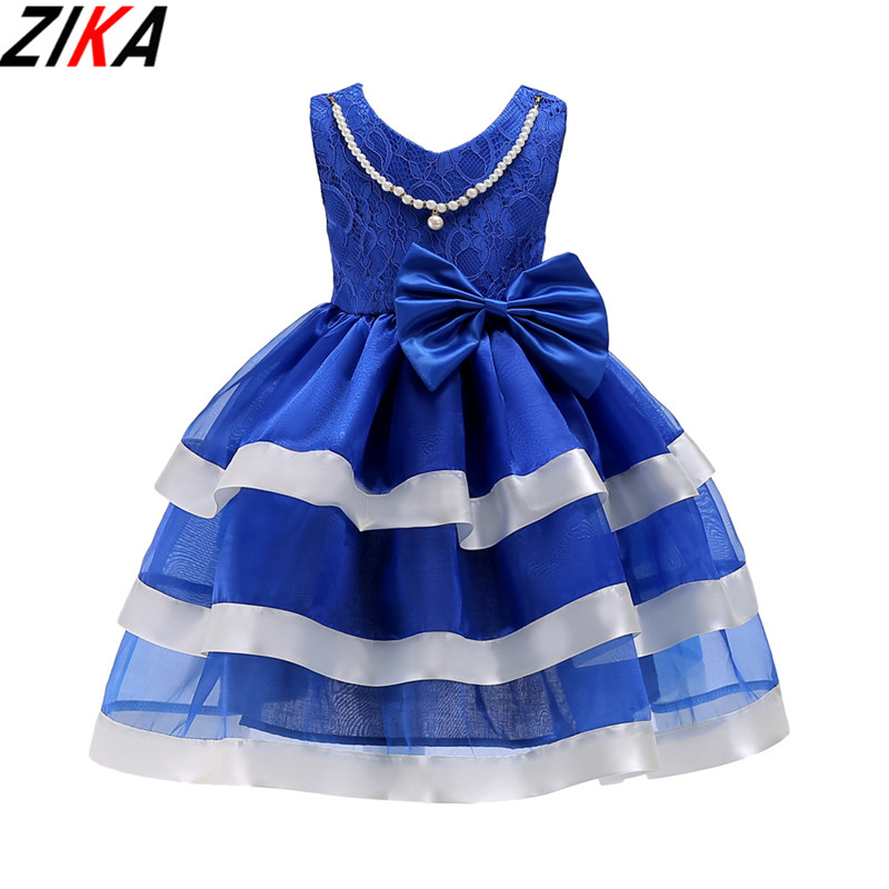 ZIKA Princess Striped Girl Dress Wedding Birthday Party Ball Gown Dresses For Girls Children's Costume Teenager Prom Designs3-10 girls ball gown lace flowers girl white dress for prom princess dresses for wedding birthday party kids clothes floral evening