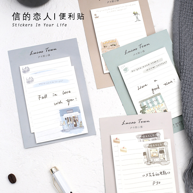 30 Sheets/pad Warm Town Theme Sticky Notes Note Pads Self Adhesive Memo Markers Gift Set School Office