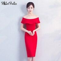 Simple Elegant Mermaid Style Red Cocktail Dresses 2018 Off The Shoulder Ruffles Short Semi Formal Dresses For Women
