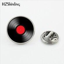 Дизайн Виниловая пластинка брошь на воротник круглый CD булавка металлическая DJ Брошь шпильки стекло кабошон нержавеющая сталь нагрудные булавки