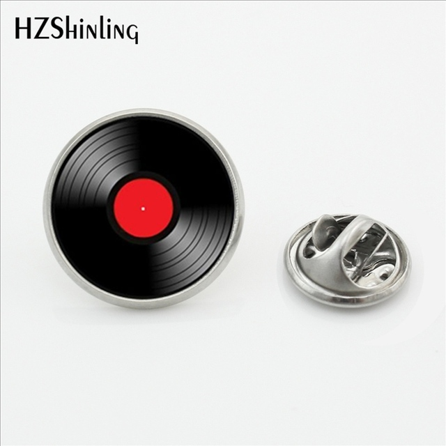 2017 New Design Vinyl Record Collar Pin Brooch Round CD Pin Metal DJ Brooch Pins