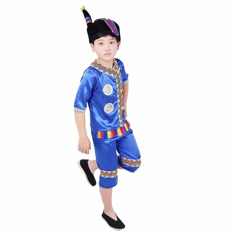 SONGYUEXIA детский Китайский народный танец костюм летний джаз костюм для танцев для детей мальчиков девочек сценический Классический Топ + Pamt комплект