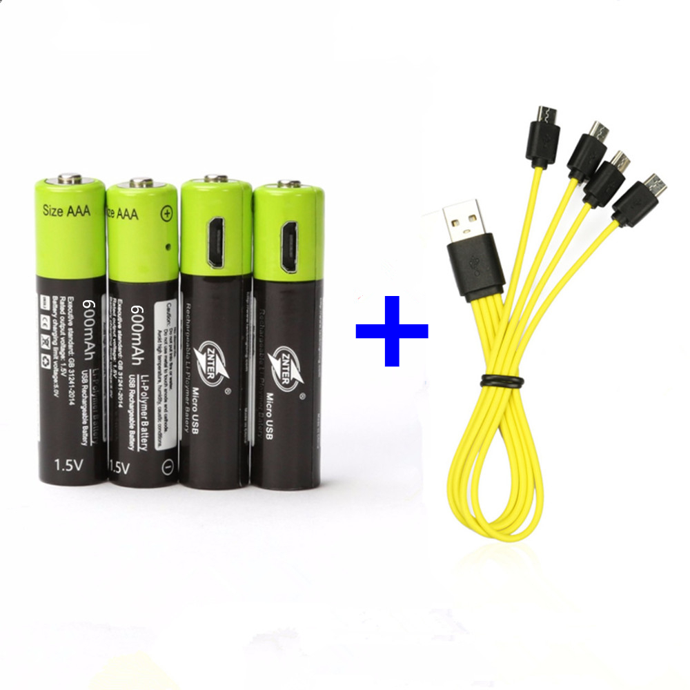 Hot Sale ZNTER 1.5V AAA Rechargeable Battery 600mAh USB Rechargeable Lithium Polymer Battery Fast Charging Via Micro USB Cable