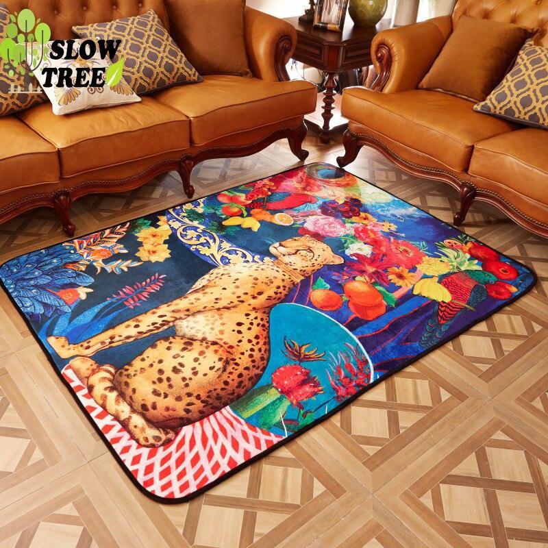 Slow Tree European Ferrets Velvet Carpet and Rug for Livingrooom Natural Latex Floor Mat Home Non slip Washable Bedside Blanket