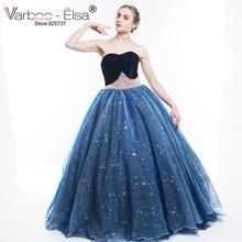 VARBOO_ELSA Lyxig Pearl Beading Evening Dress 2017 Ärmlös Axelbandslös Tulle Aftonklänning Blå Broderi Arabisk Prom Dress