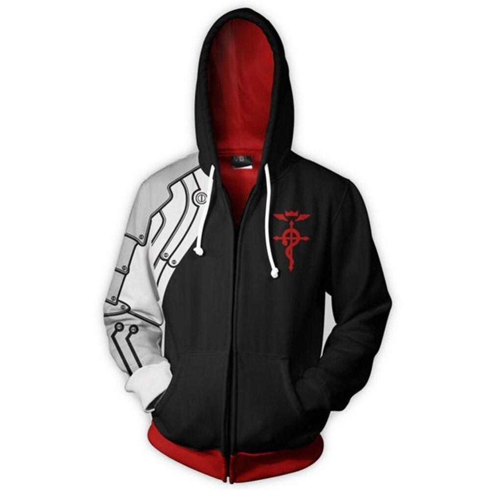 Hoodies & Sweatshirts Fullmetal Alchemist Hoodie Edward Elric Cosplay Hoodie 3d Printed Zipper Up Hooded Adult Men Casual Sweatshirt Hoodies Jacket