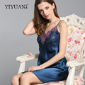 100% Natural Silk Nightdress Female Embroidery V-Neck Sling Lingerie Real Silk Nightgowns Women Sleepwear  D3395