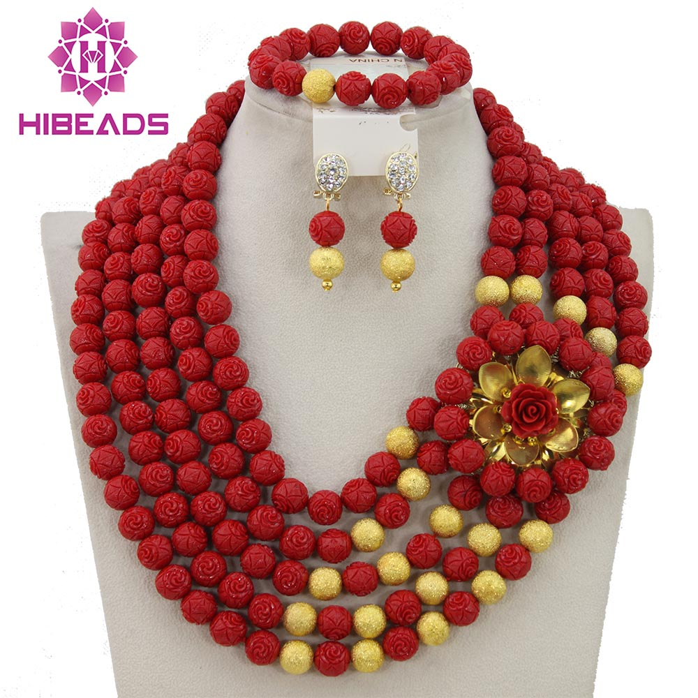 Charms Red Coral Beads Chunky Necklace Set New African Jewelry Sets Gift Jewelry Set Free Shipping CNR296 free shipping 2017 fashion red coral beads jewelry set charms red twisted strands african jewelry set high quality cnr132