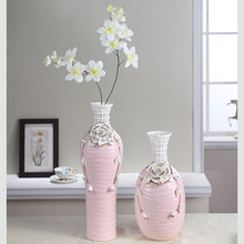 Handmade Carving hollow Ceramic pink flower vase Gold painting fashion floor decoration vase