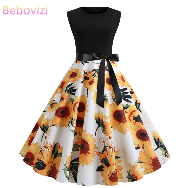 US $20.5 |Bebovizi 2019 moda lato kobiety w stylu Vintage bandaż sukienka na co dzień elegancki czarny Patchwork kwiat słonecznika druku Plus rozmiar