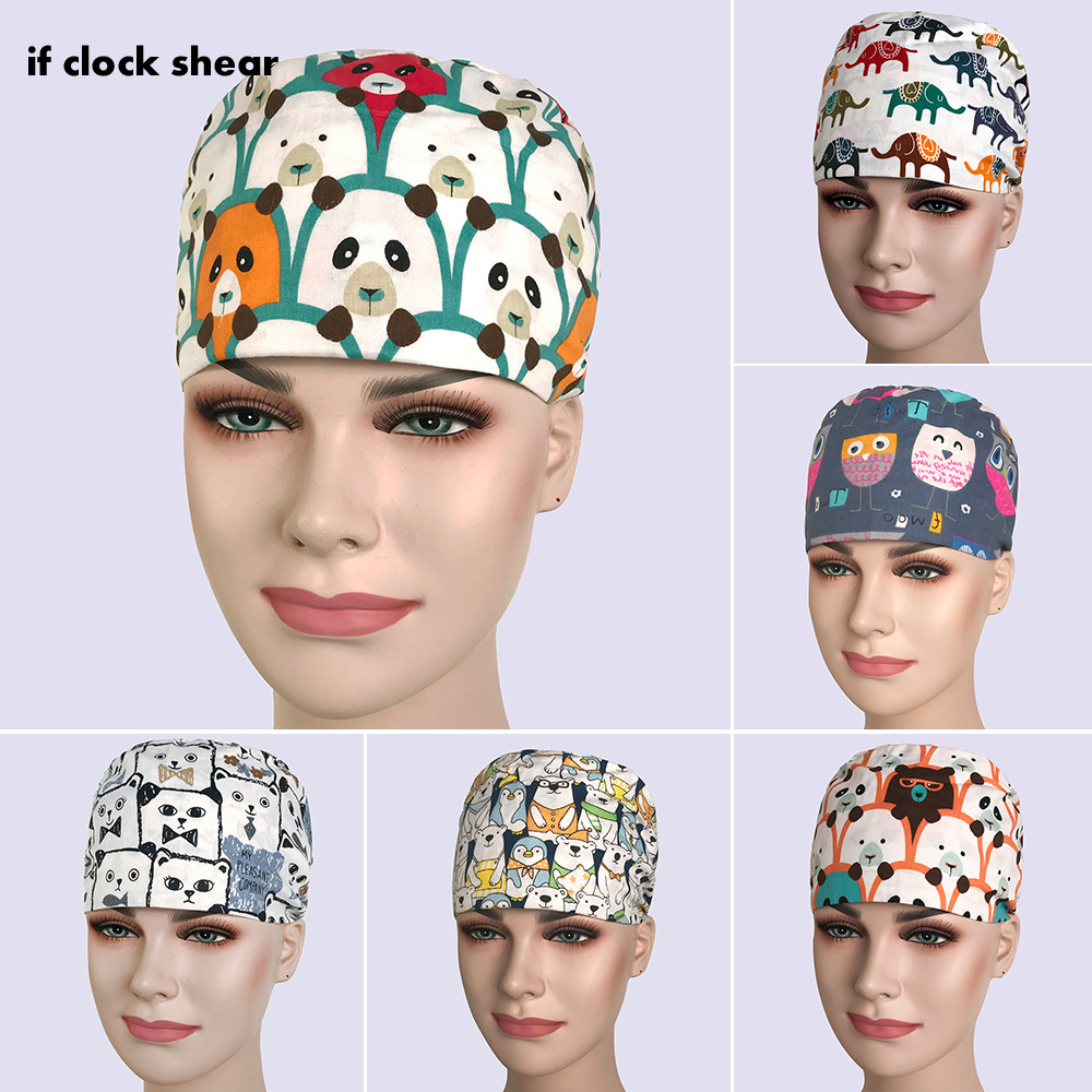 New Arrival Cotton Dentist Hat/caps Surgical Cap Print Pet Doctor Hat Scrubs Medical Caps Women Hospital Doctor Nurse Work Hats