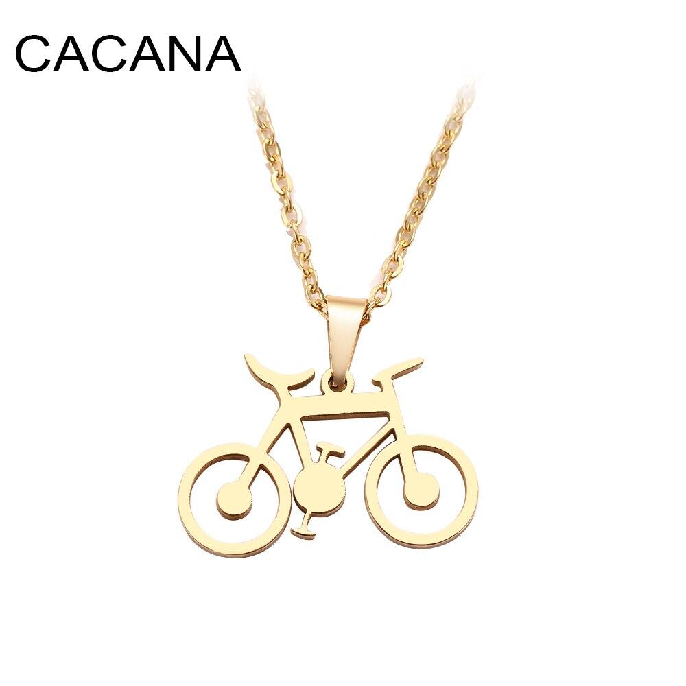 CACANA collar de acero inoxidable para mujer hombre bicicleta cl sica oro y plata gargantilla COLLAR