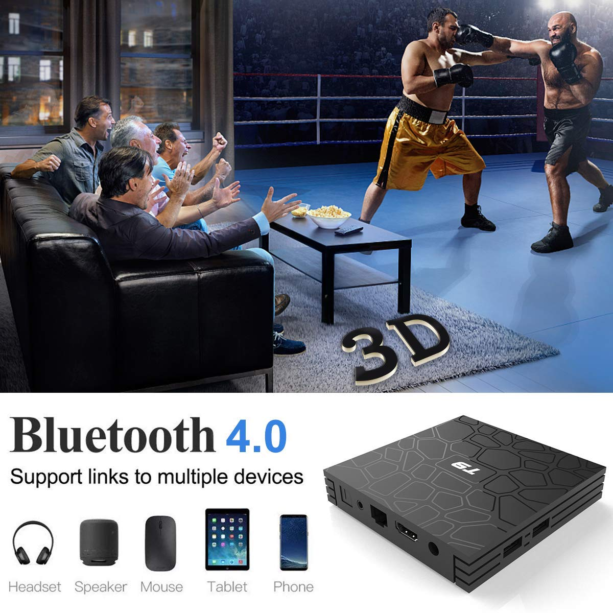 2018 T9 tv box android 8,1 WIFI 4 GB 64 GB TV Box Bluetooth 4,0 RK3328 Quad Core 4G 32G caja de tv inteligente Set Top android 8,1 Caja 5g - 3