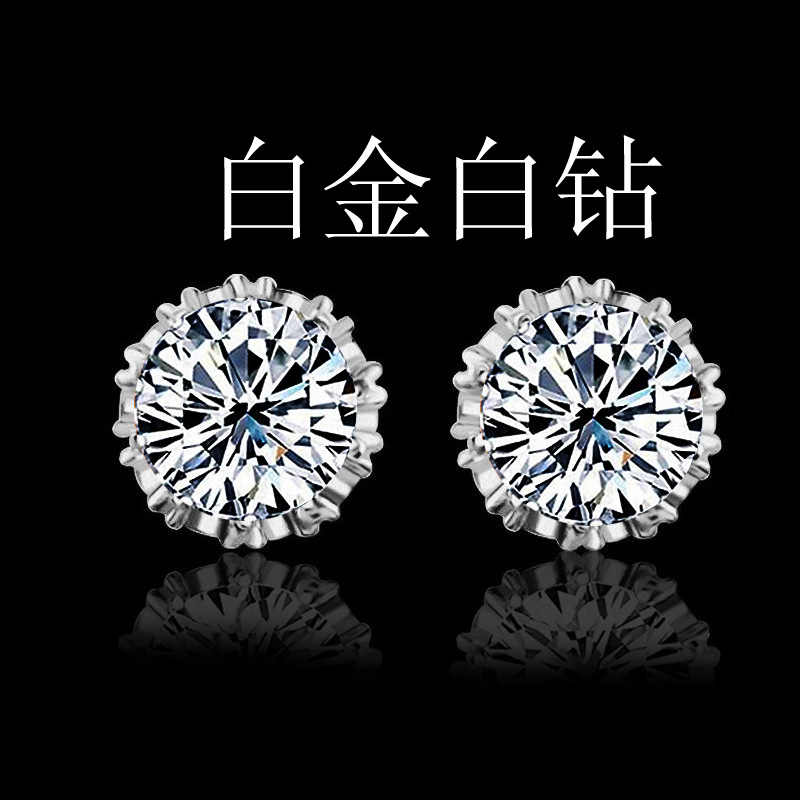 high quality 925 sterling silver Fashion Jewelry 8MM Round white Cubic Zirconia Silver earring Stud women wedding Jewelry