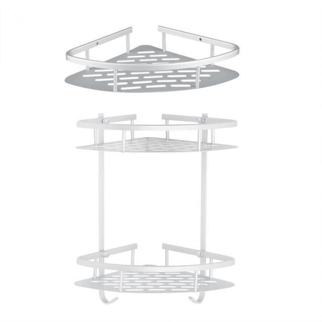 Corner Shower Shelf Storage Basket Holder Kitchen Bathroom Shower ...