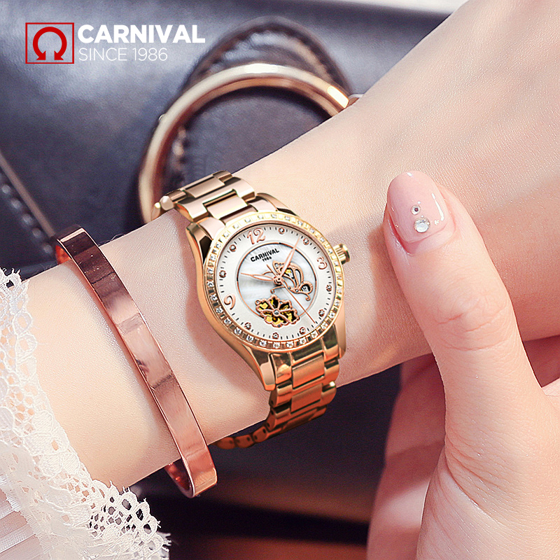 2017 New CARNIVAL luxury Hollow Pearl Dial Diamond Inlaid Women Watch Rose Gold Steel Wristlet Luminous Fashionable Female Watch blue indian luxury headpieces king queen unisex cosplay costumes diamond feather headdress for women and men peagents carnival