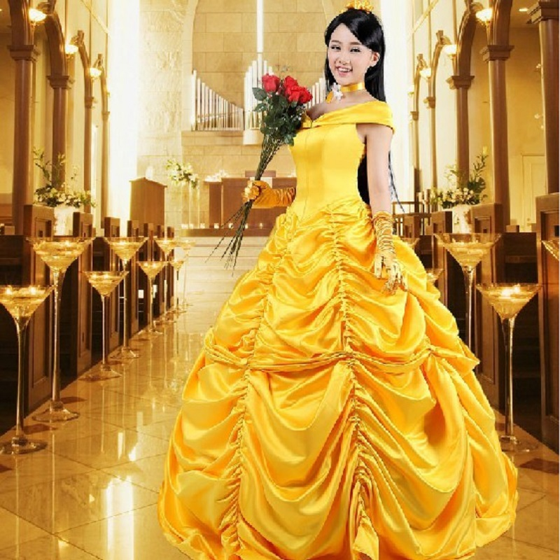 beauty and the beast plus size princess belle prom cosplay costume christmas dress women gowns beautiful halloween adults
