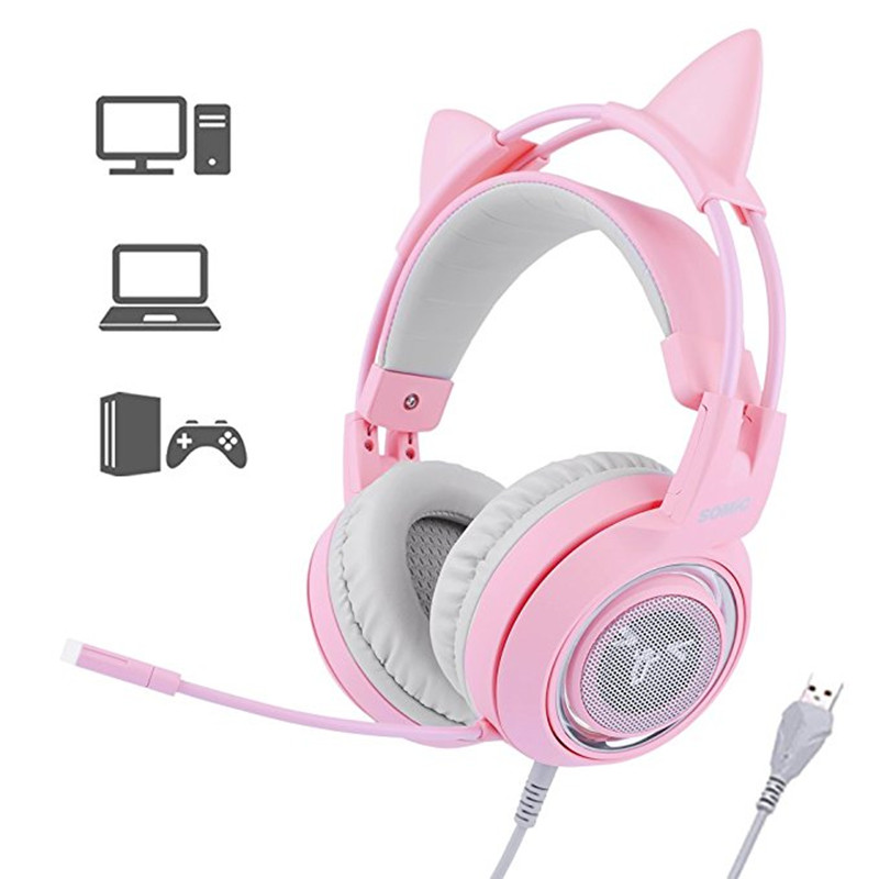 SOMIC G951 Gaming Headset USB 7.1 Virtual Surround Sound Headsets LED Cat Ear Headphones With Mic For Computer PC for Women Kids sades a60 pc gamer headset usb 7 1 surround sound pro gaming headset vibration game headphones earphones with mic for computer
