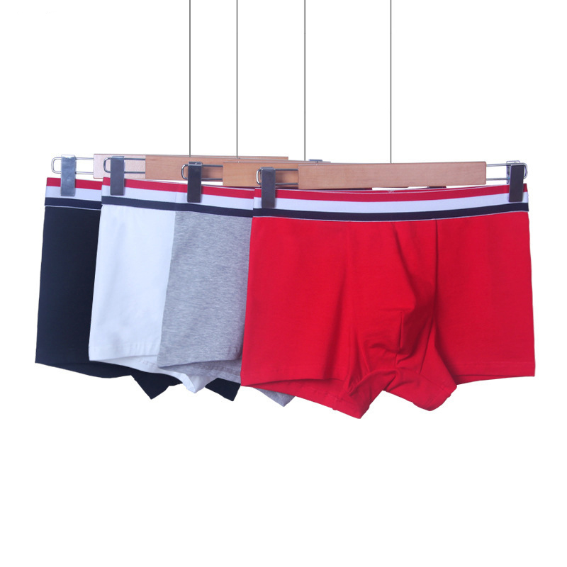 Men's underwear cotton solid color Men's fashion literary elegant plain underwear boxer men 2019 The new listing