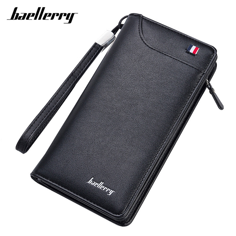 Baellerry Many Departments Men Wallets Black Male Wallet High Quality Cell Phone Card Purse Man Business Clutch Brand Designer цена 2017