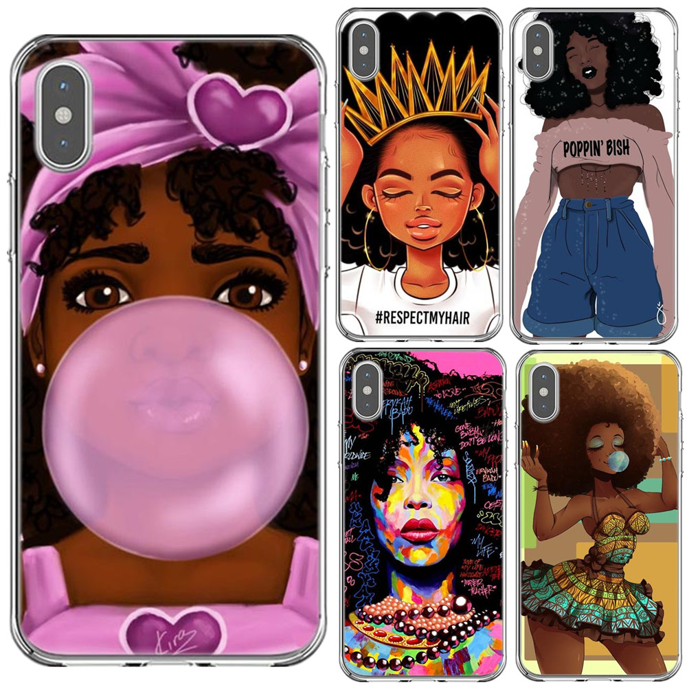 Afro Black Girl Magic Melanin Poppin Phone Case For Iphone X Xr Xs Max Soft Silicone Phone Cover For Iphone 5s Se 6 6s 7 8 Plus Flip Cases Aliexpress