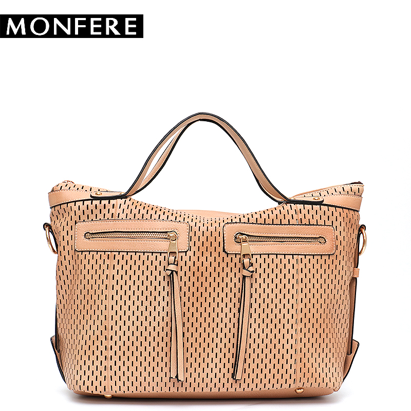 MONFE New Large Capacity Shoulder Bags for Women Hollow out Designer Hobo Handbag Female Zipper Pockets Vegan Leather Causal Bag black causal two side pockets hoodie