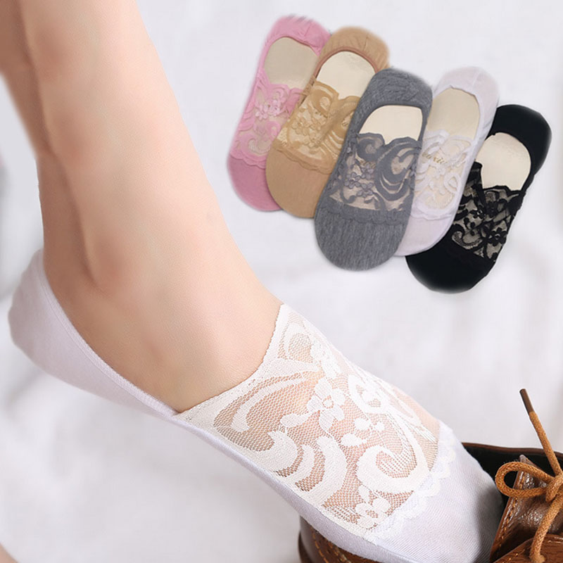 Women Lace Chic Boat Socks Skins Low Cut  Hosiery Fashion Accessories Cotton Women's Fashion Ankle Socks Thin