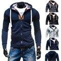 Hombre Casual Hombres de Manga Larga Con Cremallera Cardigan con capucha SweaterShirts Sudaderas Con Capucha Moda Vitalidad Boy StreetWear