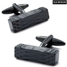 Retail Full Shinny IP Black With CNC Cutting Plain Metal Men's Jewelry Personalized Cool Cuff Links For Dress Shirts