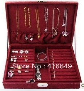 Large 19*6*28CM Fashion jewelry Accessories box plate stud earring earrings storage box ring wedding gift birthday Freeshipping