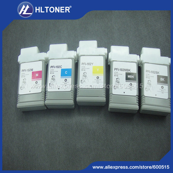 5pcs Compatible Canon ink cartridge PFI-102 for iPF700 iPF710 iPF720 iPF760 iPF650 iPF655 iPF750 iPF755 iPF600 iPF610  iPF6050 color ink jet cartridge for canon printers 821 820 series