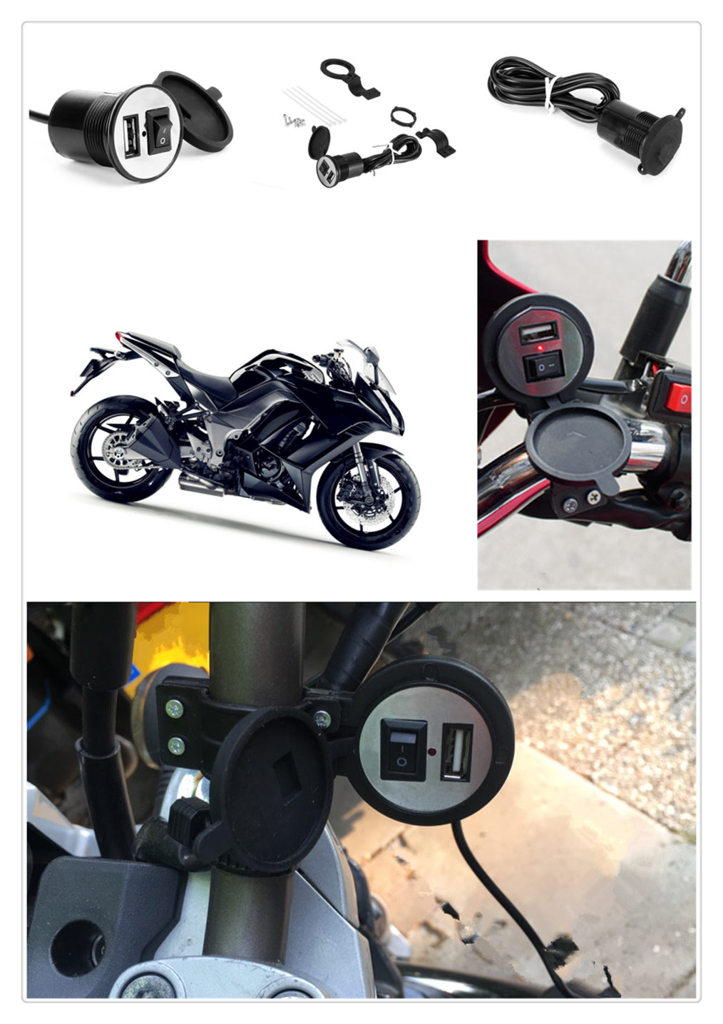 12-24V Motorcycle USB Charger Power Adapter Waterproof For SUZUKI DL650 V-STROM DR 650 S  SE SV650 S GSXR1000
