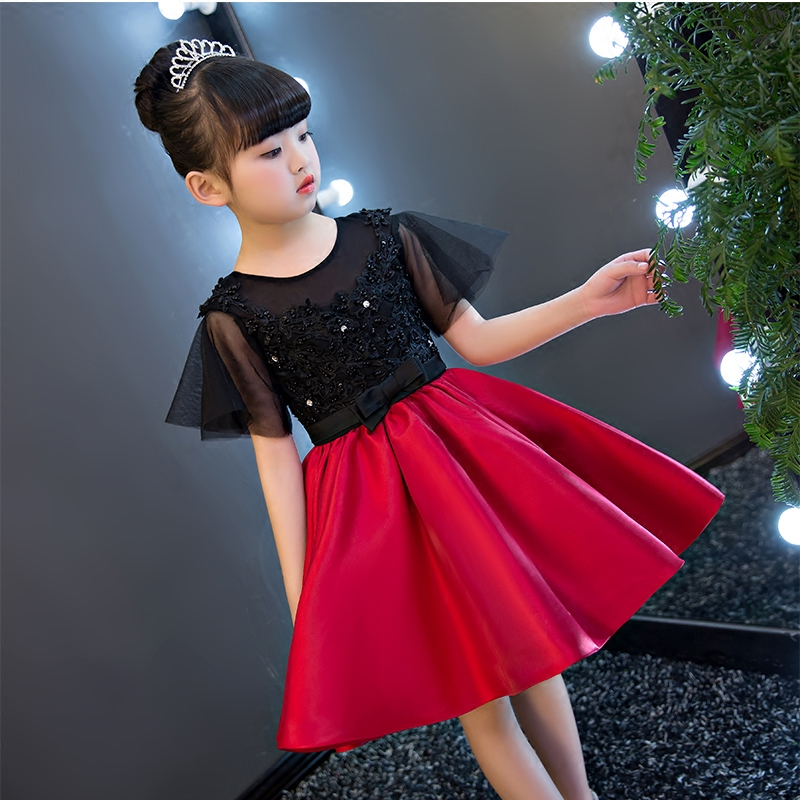 2017 New European and American Luxury Children Girls Lace Princess Dress Kids Wedding Birthday Ball Gown Short sleeves dresses