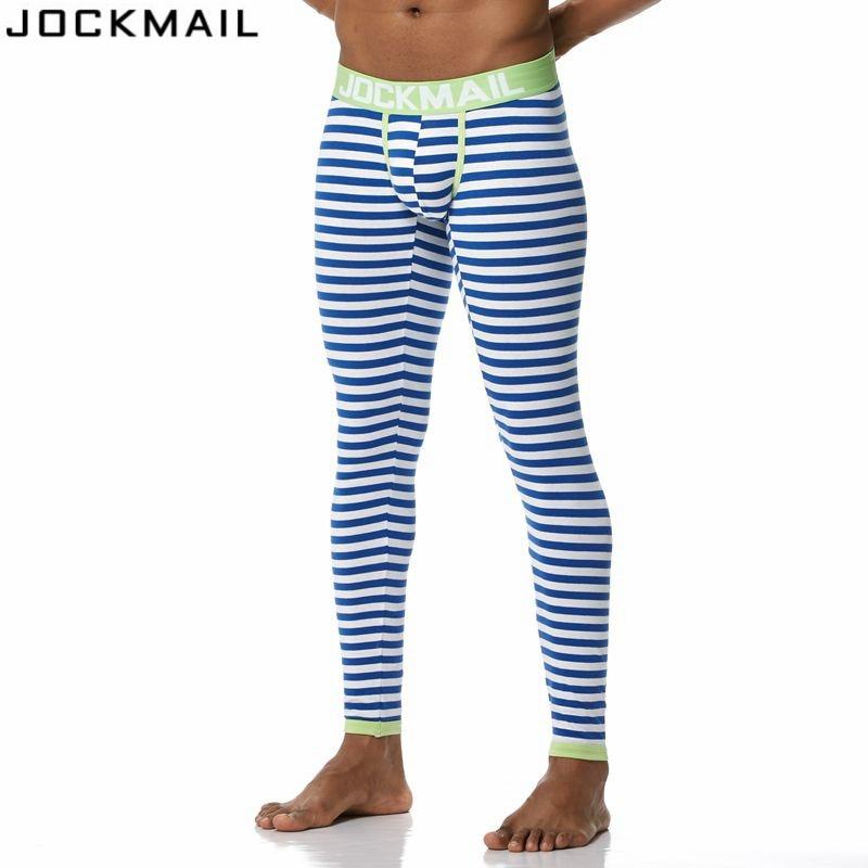 JOCKMAIL Brand Men Long Johns Cotton stripe leggings Thermal Underwear cuecas Gay Men Thermo Underwear Long Johns Underpants