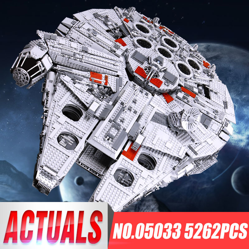 LEPIN 05033 WARS 5265Pcs Star Ultimate Collector's Millennium Falcon Model Building Blocks Bricks Children Toy kit legoing 10179 lepin 05033 5265pcs star wars ultimate collector s millennium falcon model building kit blocks bricks toy compatible
