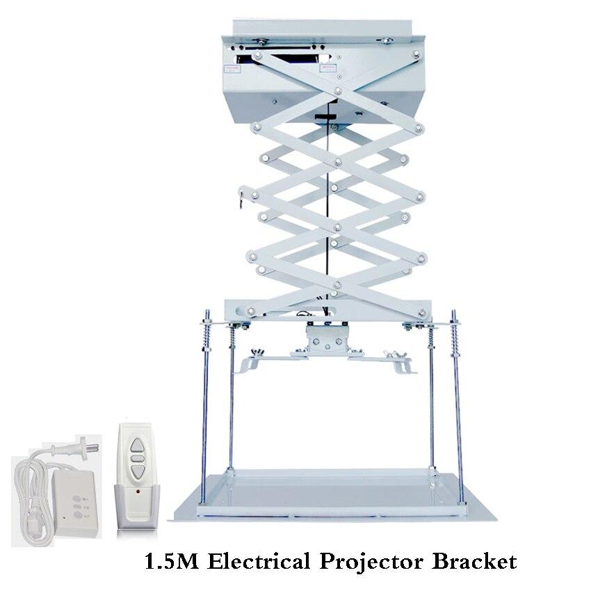 Scissor o Elevador Do Projetor motorizado Projetor Suporte de Teto Projetor Elevador Elevador 1.5 m com Controle Remoto Para O Cinema/Escola ..